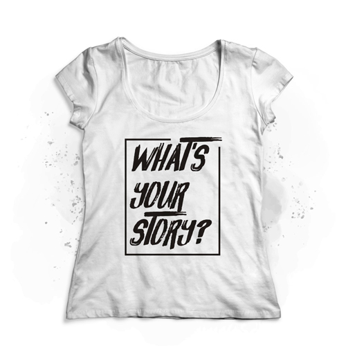 camiseta chica whats your story blanca