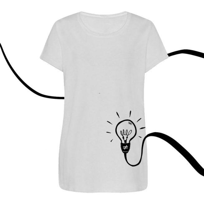 camiseta mujer bombilla blanca