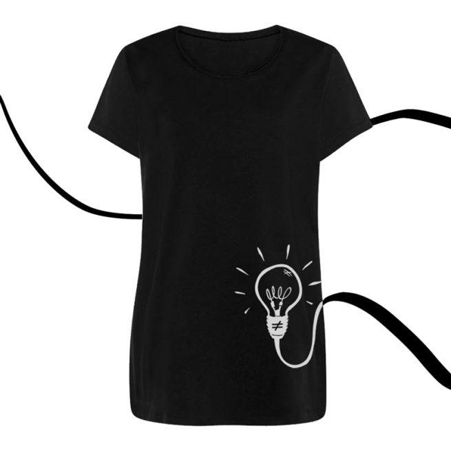 camiseta mujer bombilla negra