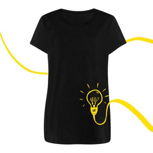 camiseta mujer bombilla amarilla